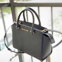 Michael Kors Womens Leather Medium Satchel Crossbody Bag Handabag Black Purse