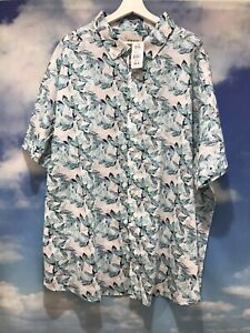 TRUE NATION BNWT Sea Green/ Blue Linen Blend Leaf Print Shirt Size 3XL