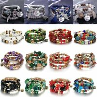 Women Men Boho Multilayer Natural Stone Crystal Elastic Bangle Bracelet Jewelry