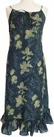 Anokhi Indigo floral knee length strappy dress - 100% Cotton