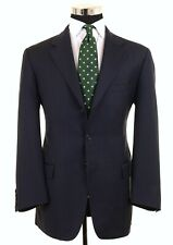 Luciano Barbera Club Made in ITALY Blue Woven Wool Sport Coat Jacket Blazer 42 R