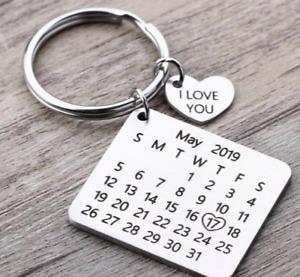 Personalized Calendar Keychain Birthday Date Love Heart Keyring Anniversary Gift