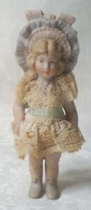 Vintage Shackmann Jointed Bisque Porcelain Miniature Doll Figurine Lace Dress 👗