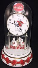 Coca Cola Anniversary Clock with Revolving  Polar Bears 2001