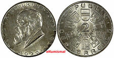 AUSTRIA Silver 1929  2 Schilling Birth of Dr. Theodor Billroth 1 Year KM# 2844
