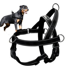 No Pull Dog Harness Black Escape Proof Reflective Nylon Dog Strap Harness Vest