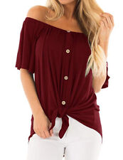 Casual Pure Color Wine Red Blouse-Off Shoulder Bowknot Comfortable-Small Size