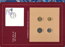 Coin Sets of All Nations Guyana wcard UNC 25,10,5 cents 1985 1 cent 1982 DEC2884