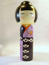 "Kokeshi doll 7 3/4"" kimono purple lavender white flowers Japanese wooden"