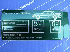 "Mercedes Sticker ""Tire Pressure"" Tank Hatch W126 W116 350SE/L 450SE/L NEW!"