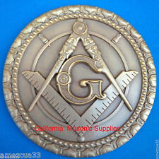 Master Mason Antique Gold Heavy Auto Rear Emblem For Freemasons Around The World