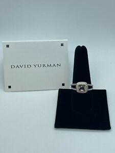 David Yurman Petite Albion Ring With Morganite and Diamonds Size 5