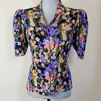 VTG Womens Size Medium Black Floral Button Up Shoulder Pad Blouse