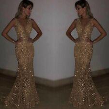 Womens Sexy V Neck Full Length Formal Dress Sequins Sleeveless Ball Gown Dresses