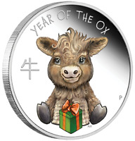 2021 Tuvalu Lunar Year of the Baby Ox Colorized 1/2 oz Silver Coin - 7,500 Made
