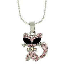 """Pink Cat Charm Pendant Fashionable Necklace - Sparkling Crystal - 17"""" Chain"""