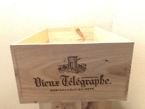 Wine Box Case Wooden Crate 12/750ml Chateau Vieux Telegraphe