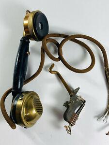 Antique Kellogg Brass Lineman line tester headset handset reciever WOW
