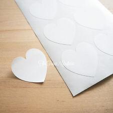 WHITE HEART STICKERS Blank Jar Labels Envelope Seals Bomboniere Wedding 48 pcs
