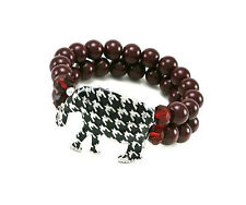 Double Red Beaded Stretch Bracelet With Houndstooth Elephant