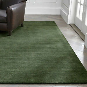 Area Rug 6' x 9' Baxter Bronze Green Hand Tufted Crate and Barrel Woolen Carpet