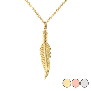 Solid Gold Dainty Feather Pendant Necklace In (Yellow White Rose)