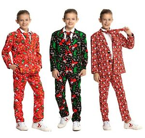 Xmas Party Suit Boy Girl Christmas Costumes Funny Party Suit Blazer Trousers Tie