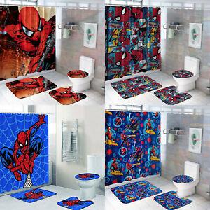 Spiderman 4PCS Bathroom Rug Set Shower Curtain Non-Slip Toilet Seat Mat Cover