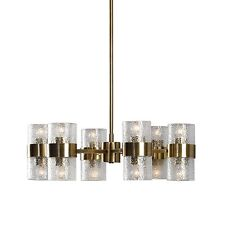 Modern Art Deco Crystal Shade Chandelier|Round 12 Light Contemporary Gold Brass