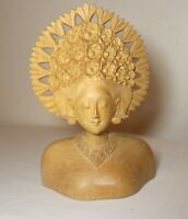 vintage carved balinese Indonesian Bali nude lady bust wood carving sculpture
