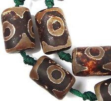 5 Tibetan Old Agate Dzi Heaven Eye Barrel Drum Focal Beads 19-22mm