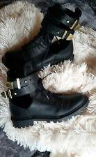H&M Ankle Boot Schuhe Blogger  Stiefelette Schwarz/Gold Gr.37(Seiten offen )