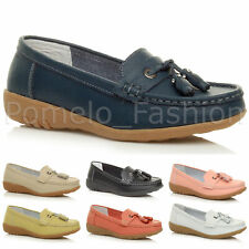 WOMENS LADIES FLAT LOW HEEL TASSEL LEATHER COMFORT LOAFER MOCCASINS SHOES SIZE
