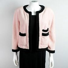 CHANEL TERRY CLOTH RARE VINTAGE JACKET - NEW - 4 - 36 - PINK & BLACK BLAZER COAT
