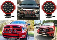 "(2) 51W 7"" Round Red LED Lights Spot Flood Bar Offroad Jeep New Free Shipping"