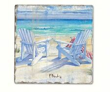 Coastal Design  6 Piece  Beachview Tumbled Tile Coaster Set 11933