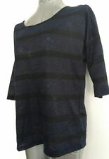 OASIS top / blouse size S elbow sleeves, navy / black  --MINT--