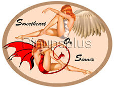 Sexy Pinup Girl Waterslide Decal Sticker Sweetheart or Sinner Devil Angel S331