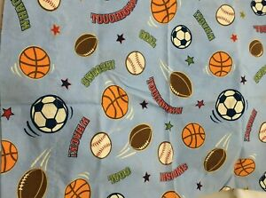 Pillowcase Blue Sports Baseball Football Soccer Ball Touchdown Goal Swoosh