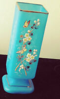 """Vintage blue Bristol glass vase hand painted floral and butterfly design 9"""" tall"""