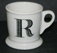 Anthropologie Initial R Shaving Coffee Mug Letter R Monogram Cup White Ceramic