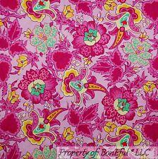 BonEful Fabric FQ Cotton Quilt Pink Green White Yellow Flower Girl Garden Large