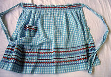 Half Apron Gingham Blue Checks Vintage Rick Rack Embroidered Handmade Wrap Tie