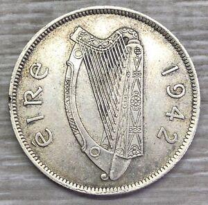 1942 Ireland Florin Silver Coin Harp / Salmon (G410)