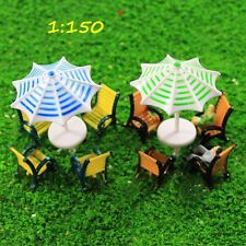 TYS40150 2 Sets Model Train Sun Umbrella Parasols Leisure Chairs Bench Settee N