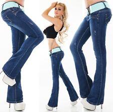 Damen Jeans Hose Schlag BootCut Schlaghose ausgestellt türkis-grün Gürtel 34-44