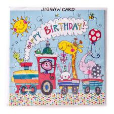 Birthday Card with Jigsaw Rachel Ellen Animal Train - Gift Card Boy Girls