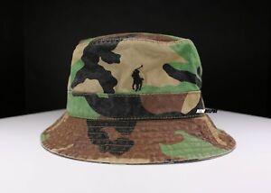 NWT POLO RALPH LAUREN PONY BEACHSIDE BUCKET HAT CAMO S/M, L/XL