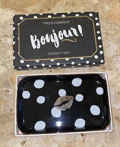 Two's Company Black White Polka Dot Kisses Decorative Porcelain Tray In Box
