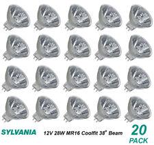 20 X 12v 28w Mr16 Gu5.3 Halogen Light Lamp Globes Bulbs 38 Degree Beam Dimmable
